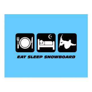 essen Sie Schlaf Snowboard Postkarte