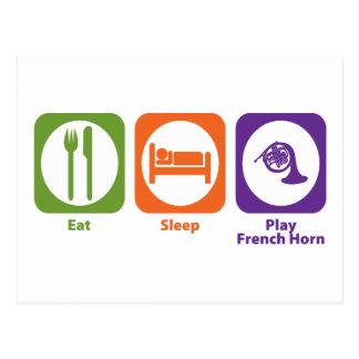 Essen Sie Schlaf-Spiel-französisches Horn Postkarte