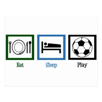 Essen Sie Schlaf-Spiel-Fußball Postkarte