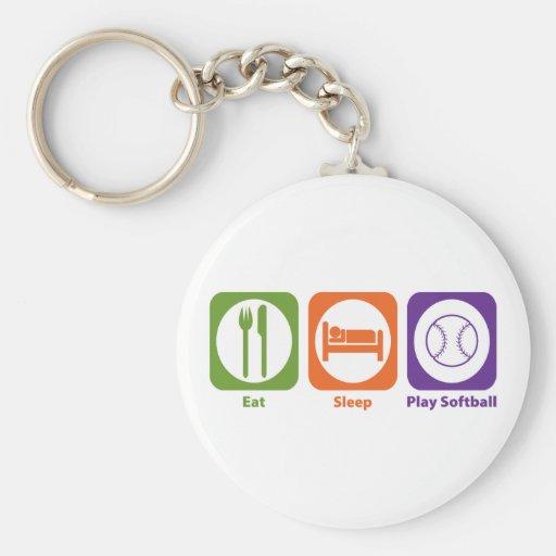 Essen Sie Schlaf-Spiel-Softball Schlüsselbänder