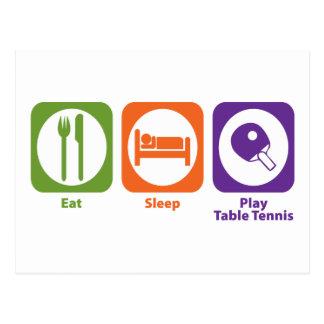 Essen Sie Schlaf-Spiel-Tischtennis Postkarte