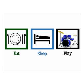 Essen Sie Schlaf-Spiel-Trommeln Postkarte
