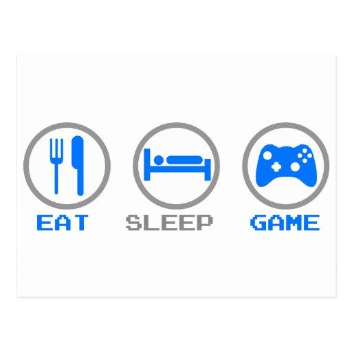 Essen Sie Schlaf-Spielwieder - Gamer, Postkarte