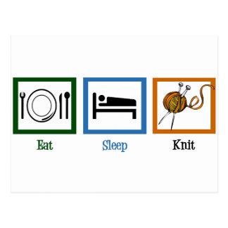 Essen Sie Schlaf-Strick Postkarte