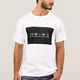 Essen Sie Schlaf-Studien-Aufzug T-Shirt