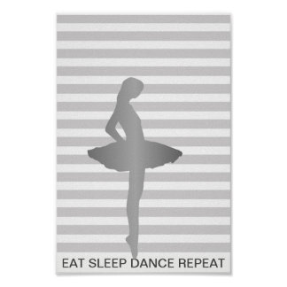 Essen Sie Schlaf-Tanz-Wiederholungs-grauen Poster