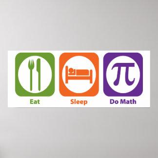 Essen Sie Schlaf tun Mathe Poster