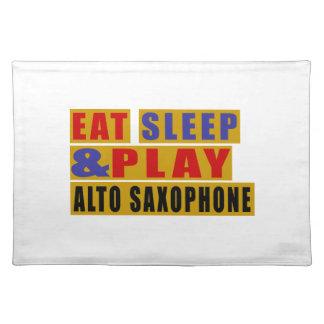 Essen Sie Schlaf und Spiel ALT-SAXOPHON Stofftischset