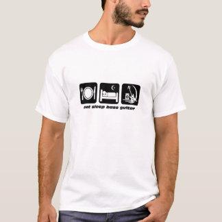 essen Sie Schlafbass-Gitarre T-Shirt