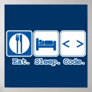 essen Sie Schlafcode (HTML) Plakatdruck