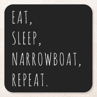 """""""Essen Sie, schlafen Sie, Narrowboat, Rechteckiger Pappuntersetzer"""