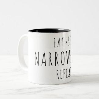 """""""Essen Sie, schlafen Sie, Narrowboat, Zweifarbige Tasse"""