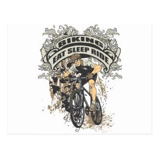 Essen Sie, schlafen Sie, reiten Sie das Radfahren Postkarte