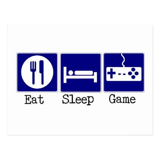 Essen Sie, schlafen Sie, Spiel Postkarte