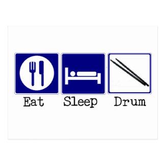 Essen Sie, schlafen Sie, trommeln Sie Postkarte