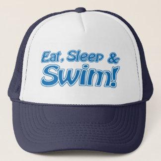 Essen Sie, schlafen Sie u. schwimmen Sie! Hut Truckerkappe