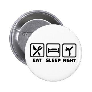 Essen Sie Schlafkampf Karate Runder Button 5,1 Cm