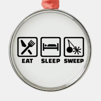 Essen Sie Schlafschleifekamin Silbernes Ornament