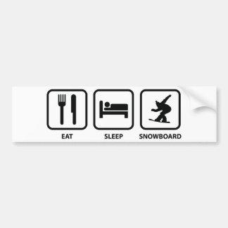 Essen Sie SchlafSnowboard Autoaufkleber