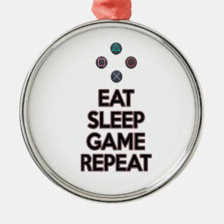 Essen Sie Schlafspielwiederholung Rundes Silberfarbenes Ornament