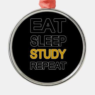Essen Sie Schlafstudienwiederholung Rundes Silberfarbenes Ornament