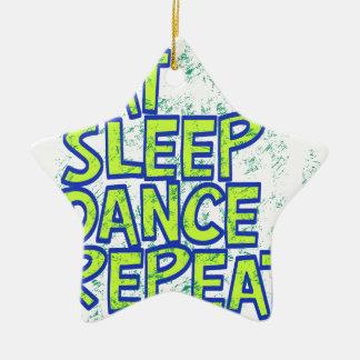 essen Sie Schlaftanzwiederholung Keramik Stern-Ornament