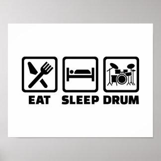 Essen Sie Schlaftrommel Poster