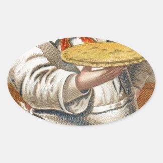 Essen Sie Torte Ovaler Aufkleber