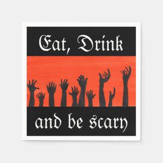 Essen Sie, trinken Sie und seien Sie beängstigende Papierserviette