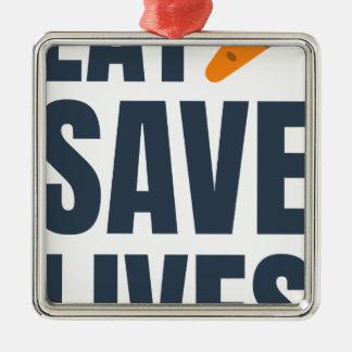 Essen Sie veganes - retten Sie die Leben Silbernes Ornament