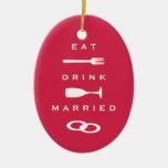 ESSEN Sie VERHEIRATETES modernes rotes Feiertagsan Weihnachtsbaum Ornament