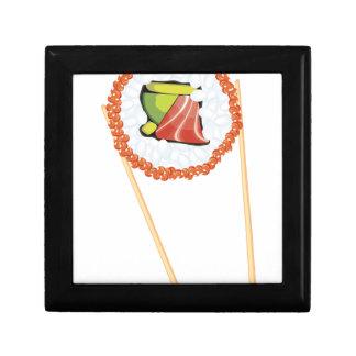 Essstäbchen, die Sushi4 halten Schmuckschachtel