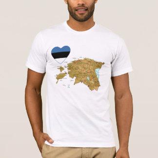Estland-Flaggen-Herz und Karten-T - Shirt