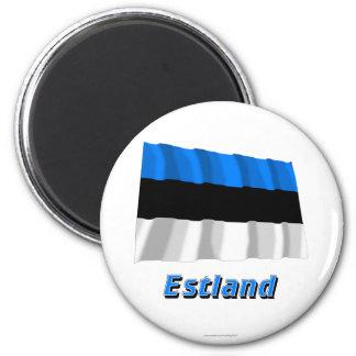 Estland Fliegende Flagge MIT Namen Runder Magnet 5,1 Cm