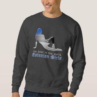 Estnische Mädchen-Silhouette-Flagge Sweatshirt