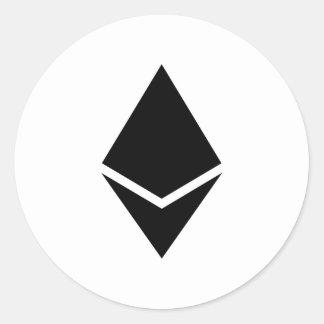 Ethereum schwarzer Logo-Aufkleber Runder Aufkleber