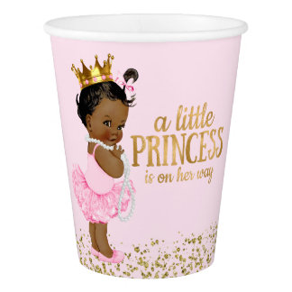 Ethnische Babyparty Prinzessin-Pink Gold Pappbecher