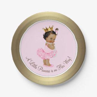 Ethnische Babyparty Prinzessin-Pink Gold Pappteller