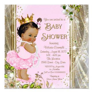 Ethnische Babyparty Prinzessin-Tutu Pink Gold Quadratische 13,3 Cm Einladungskarte