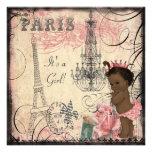 Ethnische Eiffelturm-Babyparty Prinzessin-Paris Ankündigungskarten