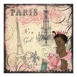 Ethnische Eiffelturm-Babyparty Prinzessin-Paris Quadratische 13,3 Cm Einladungskarte