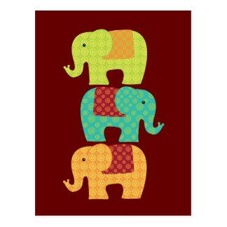 Ethnische Elefanten mit Blumen auf Postkarte
