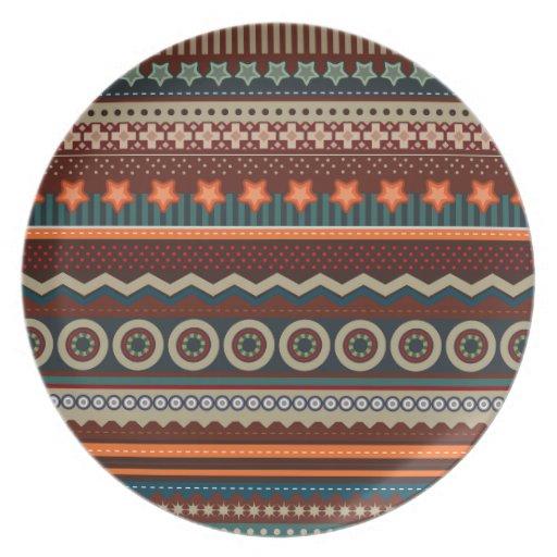 ethnische geb rtige indische muster platte teller zazzle. Black Bedroom Furniture Sets. Home Design Ideas