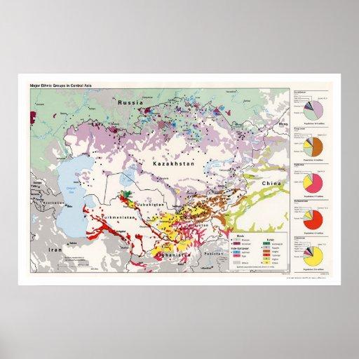 Ethnische Gruppen-Asien-Karte 1993 Poster