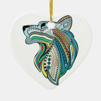 Ethnische Hauptverzierung des Wolfs Keramik Herz-Ornament