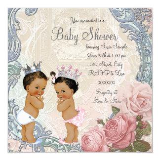 Ethnische Prinz-und Prinzessin-Twin Babyparty Karte