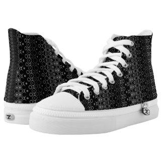 Ethnische schwarze hohe Spitzenschuhe des Grau-#1 Hoch-geschnittene Sneaker