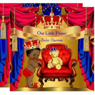 Ethnischer Goldbärn-rotes Blau Prinz-Babyparty Karte