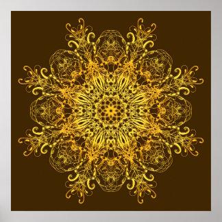 Ethnischer goldener Mandala. Poster