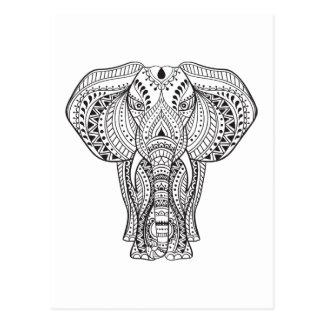 Ethnischer indischer Elefant Postkarte
